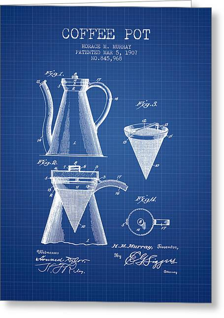 Pot Drawings Greeting Cards - 1907 Coffee Pot patent - blueprint Greeting Card by Aged Pixel