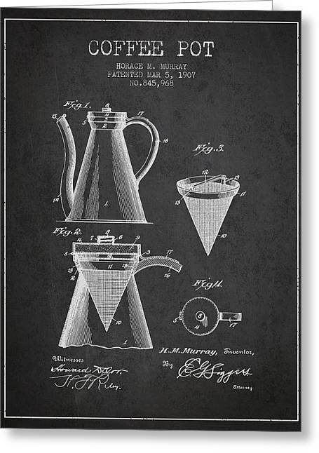 1907 Coffee Pot Patent - Charcoal Greeting Card by Aged Pixel
