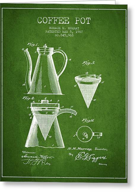 Pot Drawings Greeting Cards - 1907 Coffee Pot patent - green Greeting Card by Aged Pixel