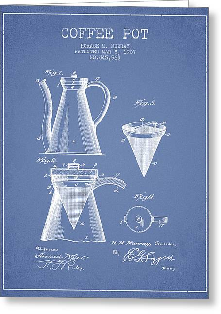 Pot Drawings Greeting Cards - 1907 Coffee Pot patent - light blue Greeting Card by Aged Pixel