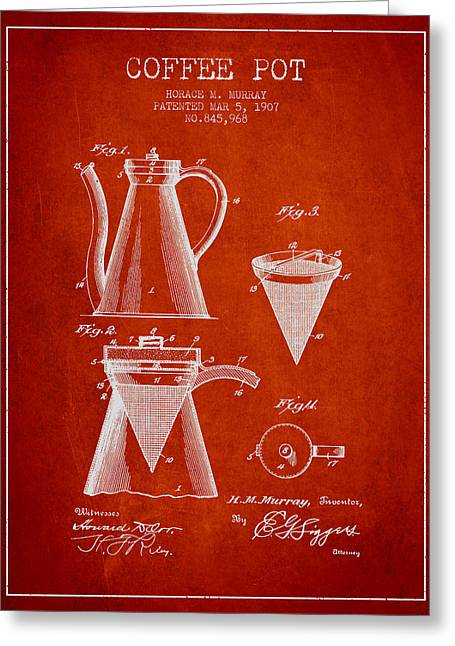 Pot Drawings Greeting Cards - 1907 Coffee Pot patent - red Greeting Card by Aged Pixel