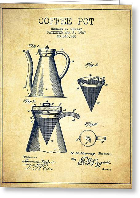 Pot Drawings Greeting Cards - 1907 Coffee Pot patent - vintage Greeting Card by Aged Pixel