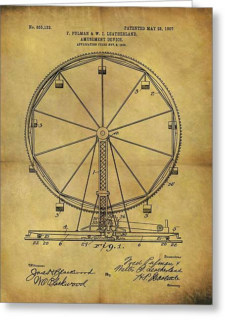 1907 Ferris Wheel Patent Greeting Card by Dan Sproul