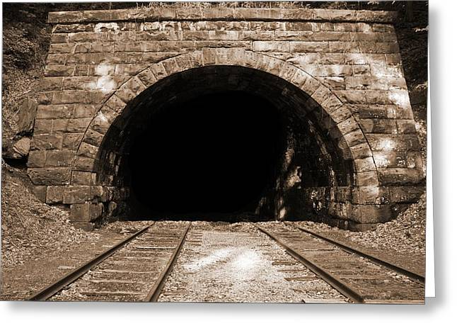 1907 Greeting Cards - 1907 Railroad Tunnel Greeting Card by Brian Hamilton