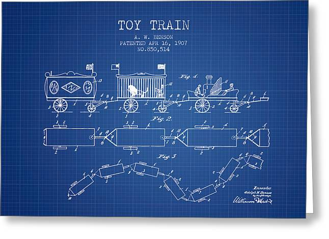 Train Drawing Greeting Cards - 1907 Toy Train Patent - Blueprint Greeting Card by Aged Pixel
