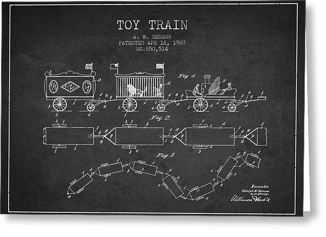 1907 Toy Train Patent - Charcoal Greeting Card by Aged Pixel