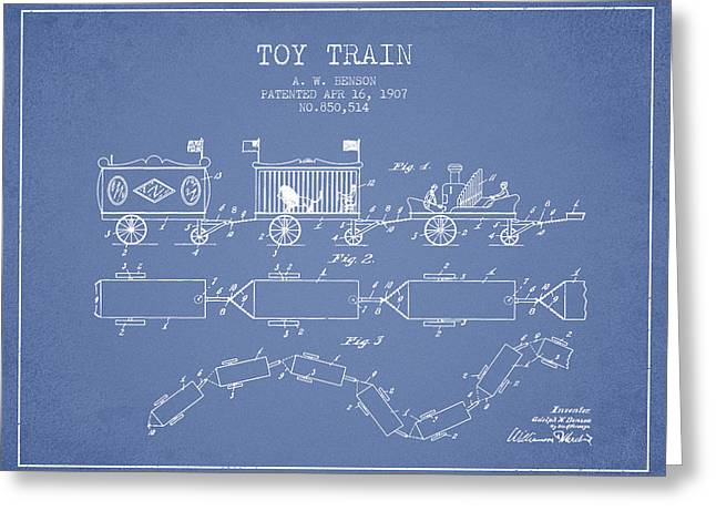Train Drawing Greeting Cards - 1907 Toy Train Patent - Light Blue Greeting Card by Aged Pixel