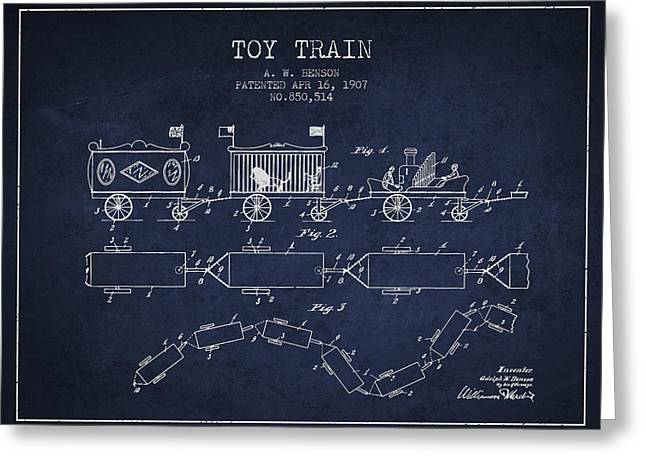 1907 Toy Train Patent - Navy Blue Greeting Card by Aged Pixel
