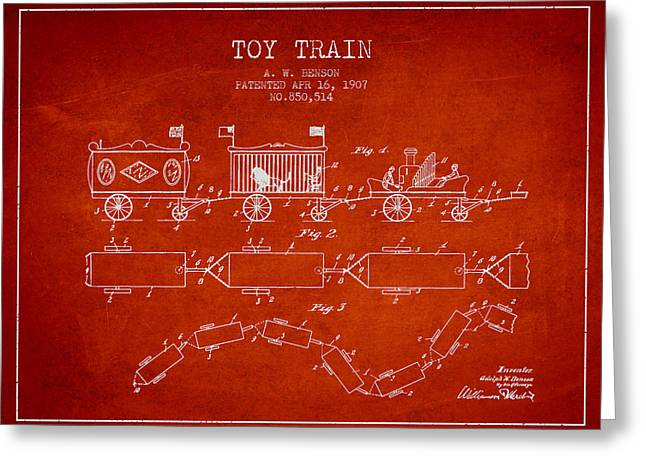 Train Drawing Greeting Cards - 1907 Toy Train Patent - Red Greeting Card by Aged Pixel