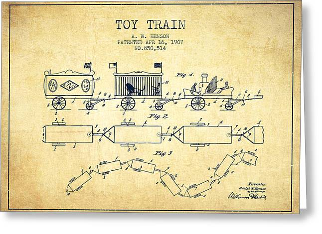 Train Drawing Greeting Cards - 1907 Toy Train Patent - Vintage Greeting Card by Aged Pixel