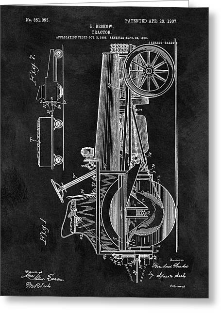 1907 Tractor Blueprint Patent Greeting Card by Dan Sproul