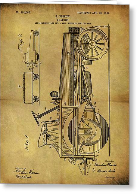 1907 Tractor Patent Greeting Card by Dan Sproul