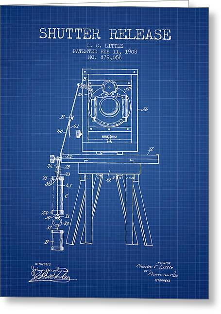 Old Camera Greeting Cards - 1908 Shutter Release Patent - Blueprint Greeting Card by Aged Pixel