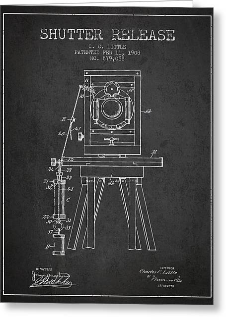 Old Camera Greeting Cards - 1908 Shutter Release Patent - Charcoal Greeting Card by Aged Pixel