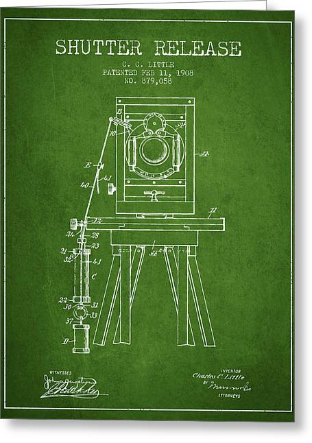 Old Camera Greeting Cards - 1908 Shutter Release Patent - Green Greeting Card by Aged Pixel