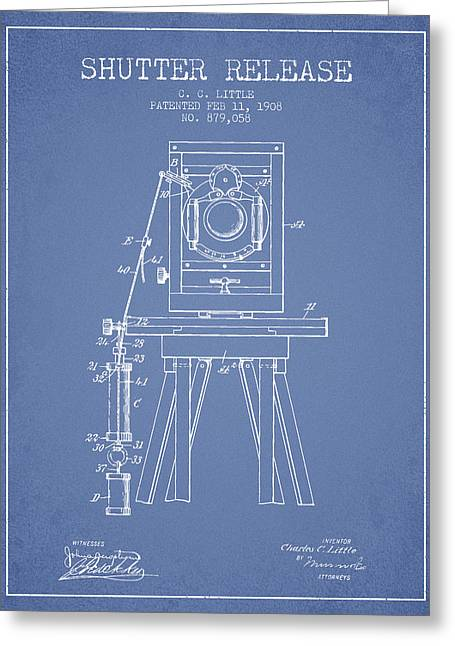 Old Camera Greeting Cards - 1908 Shutter Release Patent - Light Blue Greeting Card by Aged Pixel
