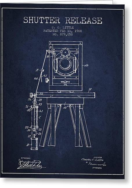 Old Camera Greeting Cards - 1908 Shutter Release Patent - Navy Blue Greeting Card by Aged Pixel