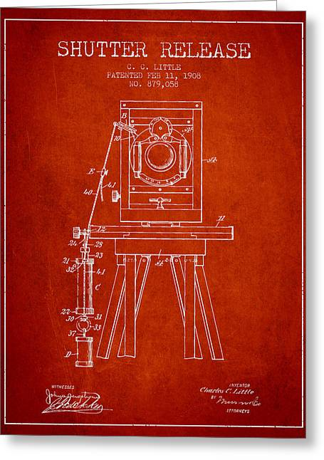 Old Camera Greeting Cards - 1908 Shutter Release Patent - Red Greeting Card by Aged Pixel