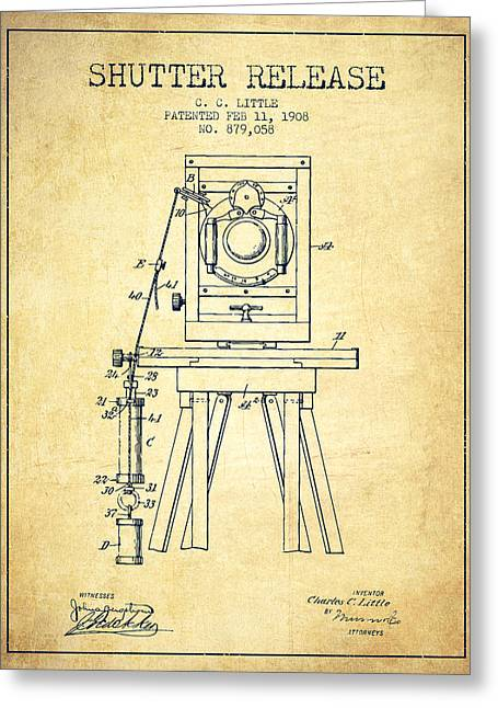 Exposure Drawings Greeting Cards - 1908 Shutter Release Patent - Vintage Greeting Card by Aged Pixel