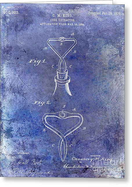 Merlot Greeting Cards - 1909 Cork Extractor Patent Blue Greeting Card by Jon Neidert