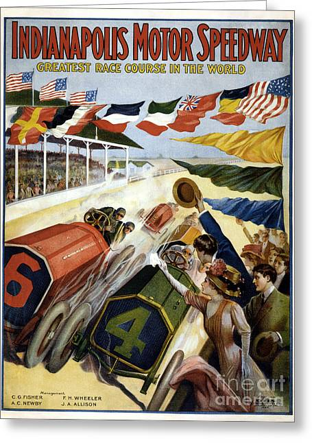 Indianapolis 500 Greeting Cards - 1909 Indy 500 Poster Greeting Card by Jon Neidert