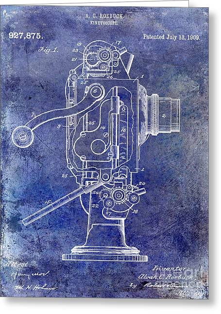 Movies Photographs Greeting Cards - 1909 Kinetoscope Patent Blue Greeting Card by Jon Neidert