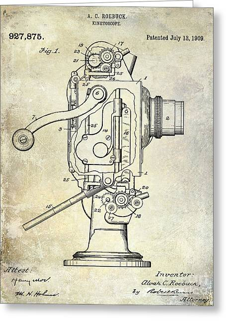 Movies Photographs Greeting Cards - 1909 Kinetoscope Patent  Greeting Card by Jon Neidert