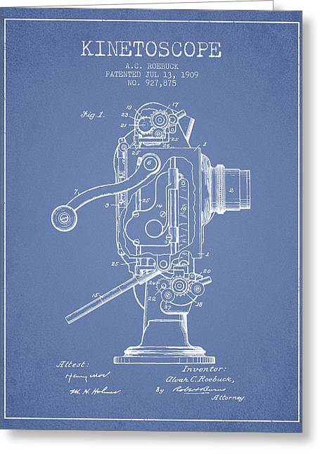 Camera Greeting Cards - 1909 Kinetoscope Patent - Light Blue Greeting Card by Aged Pixel