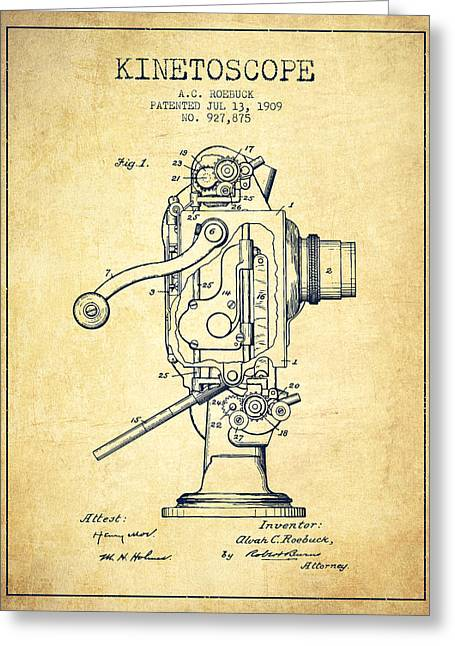 Exposure Drawings Greeting Cards - 1909 Kinetoscope Patent - Vintage Greeting Card by Aged Pixel