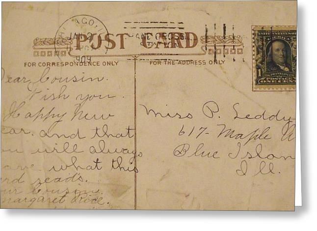 Anna Villarreal Garbis Greeting Cards - 1909 New Years Postcard Greeting Card by Anna Villarreal Garbis