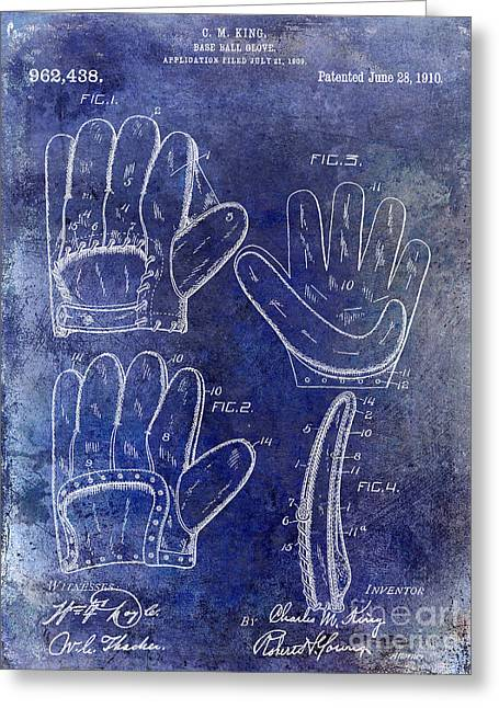 Baseball Glove Greeting Cards - 1910 Baseball Glove Patent Blue Greeting Card by Jon Neidert