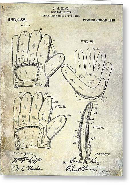 Baseball Gloves Photographs Greeting Cards - 1910 Baseball Glove Patent  Greeting Card by Jon Neidert