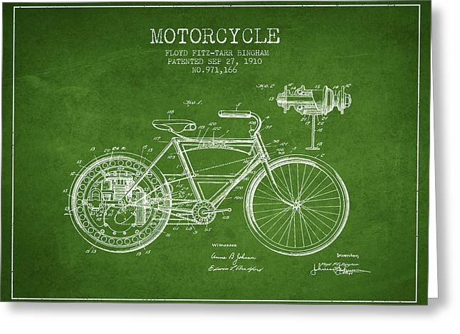 Motorbikes Greeting Cards - 1910 Motorcycle Patent - Green Greeting Card by Aged Pixel