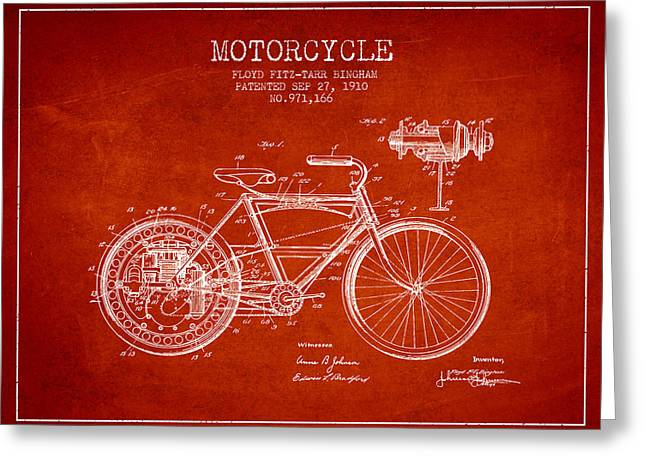 Motorbikes Greeting Cards - 1910 Motorcycle Patent - Red Greeting Card by Aged Pixel