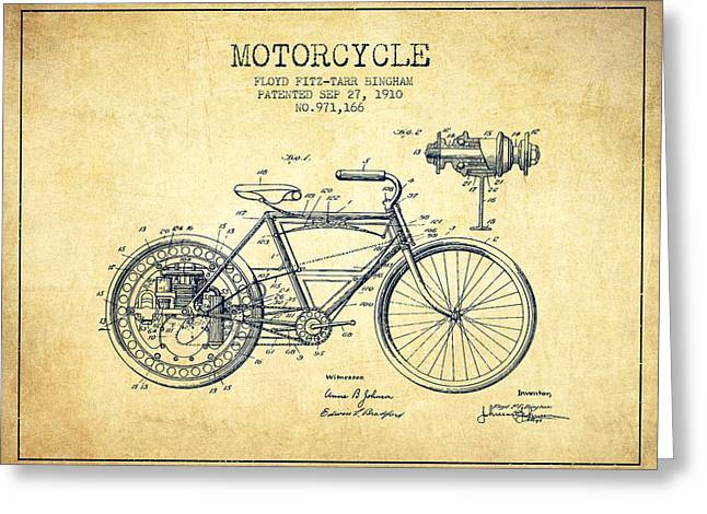 Bike Drawings Greeting Cards - 1910 Motorcycle Patent - Vintage Greeting Card by Aged Pixel