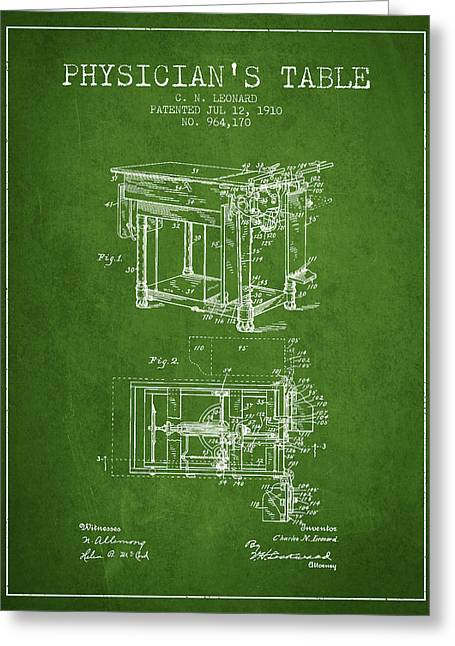 Medical Drawings Greeting Cards - 1910 Physicians Table patent - Green Greeting Card by Aged Pixel