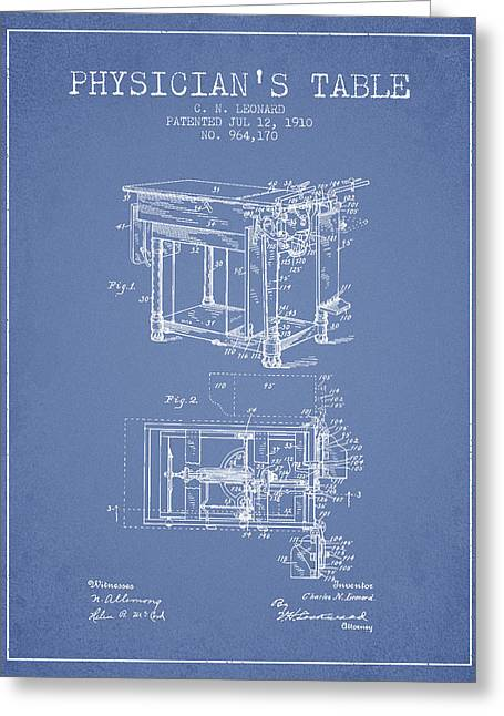 1910 Physicians Table Patent - Light Blue Greeting Card by Aged Pixel