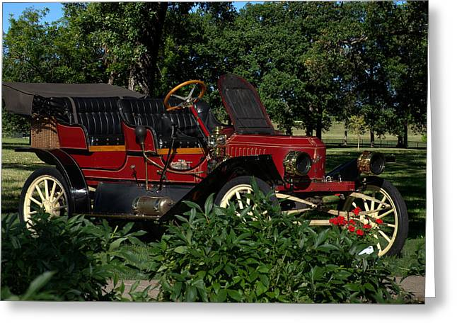 Jay Leno Greeting Cards - 1910 Stanley  Model 62 Touring Greeting Card by Tim McCullough