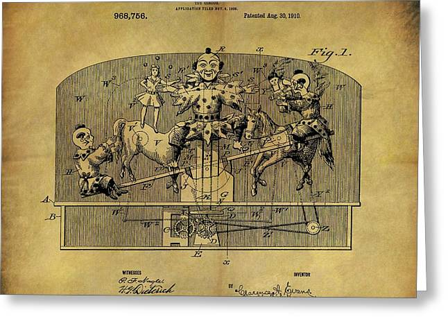 1910 Toy Circus Patent Greeting Card by Dan Sproul