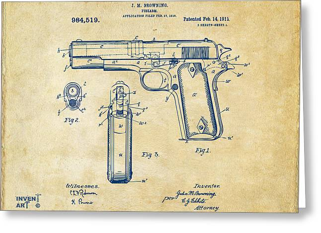 Patent Artwork Greeting Cards - 1911 Colt 45 Browning Firearm Patent Artwork Vintage Greeting Card by Nikki Marie Smith