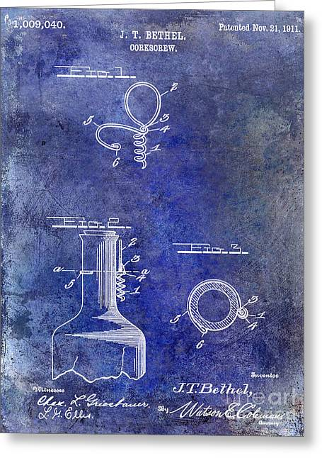Merlot Greeting Cards - 1911 Corkscrew Patent Blue Greeting Card by Jon Neidert
