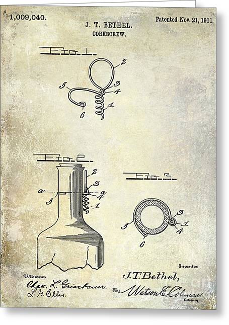 Merlot Greeting Cards - 1911 Corkscrew Patent  Greeting Card by Jon Neidert