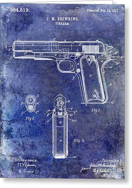 Browning Greeting Cards - 1911 Firearm Patent Blue Greeting Card by Jon Neidert