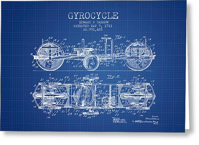 Motorbikes Greeting Cards - 1911 Gyrocycle Patent - Blueprint Greeting Card by Aged Pixel