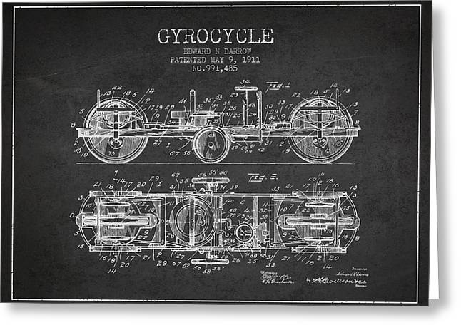 Motorbikes Greeting Cards - 1911 Gyrocycle Patent - Charcoal Greeting Card by Aged Pixel