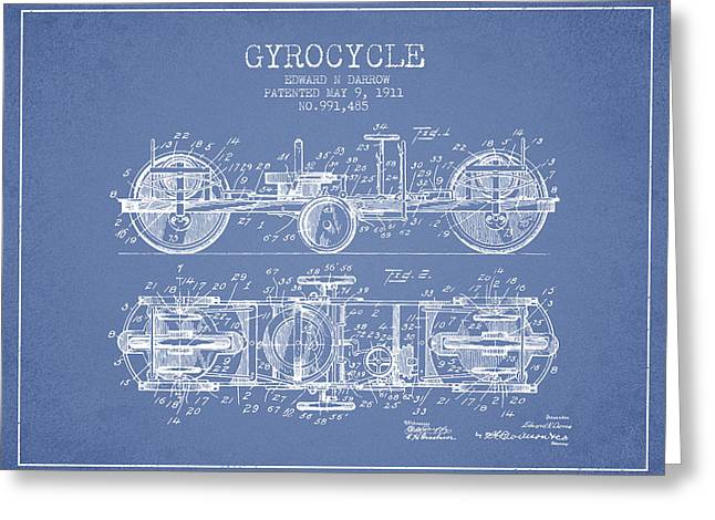 Motorbikes Greeting Cards - 1911 Gyrocycle Patent - Light Blue Greeting Card by Aged Pixel