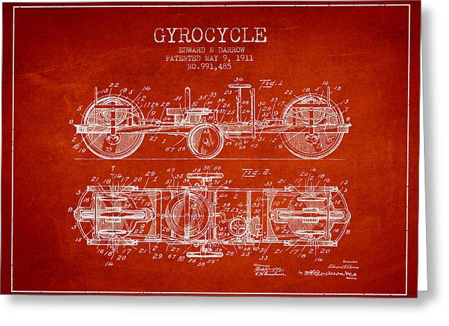 Technical Drawings Greeting Cards - 1911 Gyrocycle Patent - Red Greeting Card by Aged Pixel