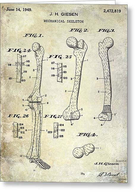 Medical Greeting Cards - 1911 Mechanical Skeleton Patent Blue Greeting Card by Jon Neidert