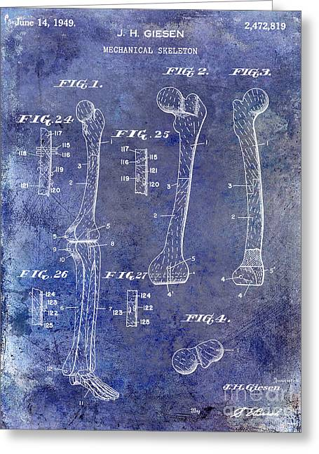 Sculling Greeting Cards - 1911 Mechanical Skeleton Patent 1 Blue Greeting Card by Jon Neidert