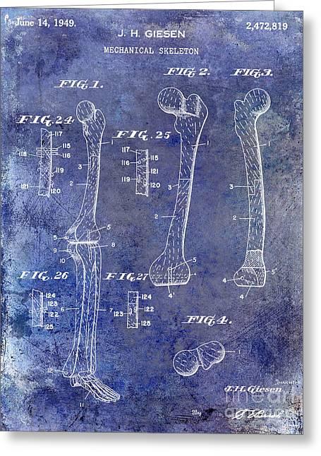 Medical Greeting Cards - 1911 Mechanical Skeleton Patent 1 Blue Greeting Card by Jon Neidert